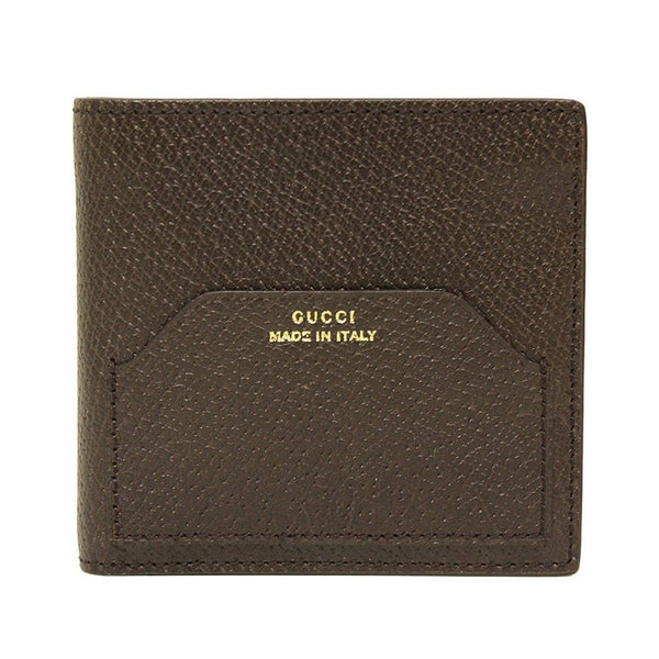 GUCCI 'Made in Italy' Brown Textured Leather Bi-fold Wallet for Men - Retail Basis