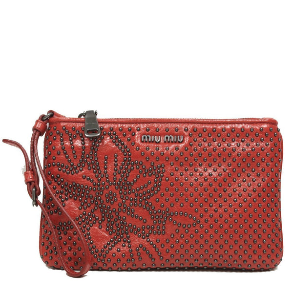 Miu Miu Borch Cellulare Studded Zip Top Red Leather Pouch Wristlet Bag - Retail Basis