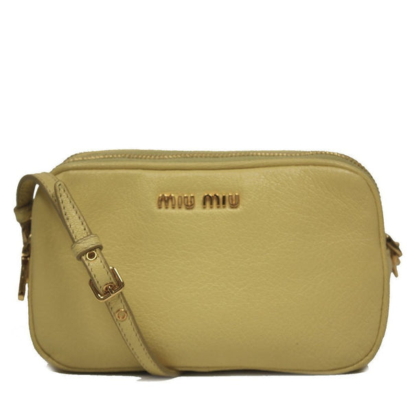 Miu Miu by Prada Madras Limone Cellulare Light Yellow Leather Wristlet - Retail Basis