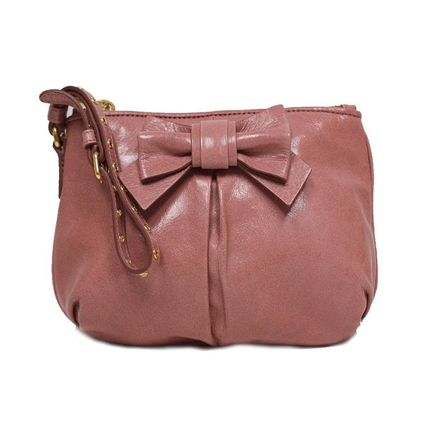 Miu Miu Prada Vitello Light Pink Leather Bow Wristlet - Retail Basis