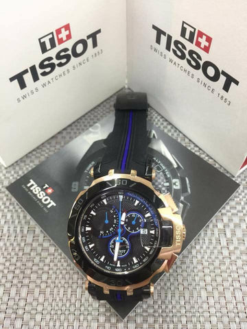 Tissot Sport Watch Gold Ring Blue Accents - WyldekardeWorld