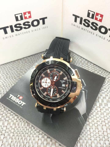 Tissot Sport Watch Gold Ring Red Accents - WyldekardeWorld