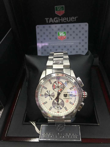 TagHeuer Senna Watch Chrome White Face - WyldekardeWorld