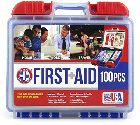 Be Smart Get Prepared 100 Piece First Aid Kit, Clean, Treat and Protect most injuries with the kit that is great for any home, office, vehicle, camping and sports. 0.71 Pound - WyldekardeWorld