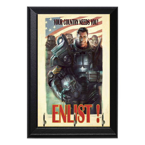 "Enlist! Brotherhood of Steel Fallout Decorative Wall Plaque Key Leash Hook Holder Hanger 8"" x 6"" - WyldekardeWorld"