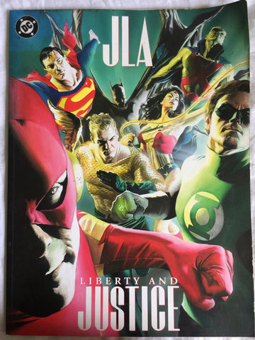 JLA: Liberty and Justice ~ Treasury Sized Paperback ~ Signed ~ DC Comics 2003 (Pre-Owned) - WyldekardeWorld