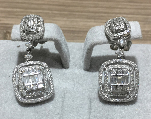 Square Dangling Illusion Diamond Earrings - WyldekardeWorld