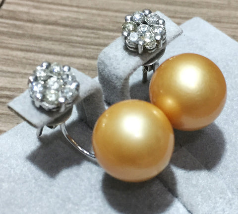 Rose Gold Pearls on White Gold Rositas Earrings - WyldekardeWorld