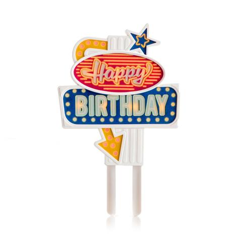 Happy Birthday Flashing Cake Topper - WyldekardeWorld