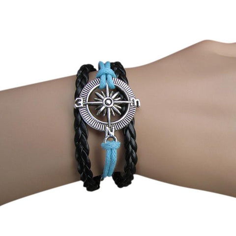 Retro compass hand-woven leather cord multi-strand bracelet - WyldekardeWorld