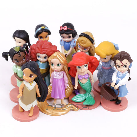 Princesses Toys Snow White Merida Rapunzel Belle Tiana Ariel Jasmine Mulan PVC Figures Gifts for Girl 11pcs/set - WyldekardeWorld