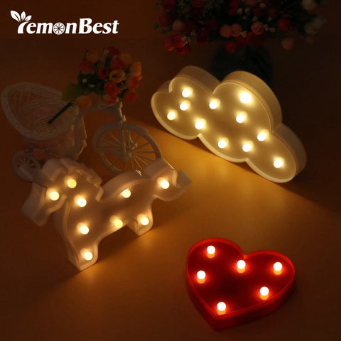 LemonBest LED Night Light Cloud Heart Unicorn 3D Lamp Table Novelty Luminaria Nightlight Children Christmas Decorations for Home