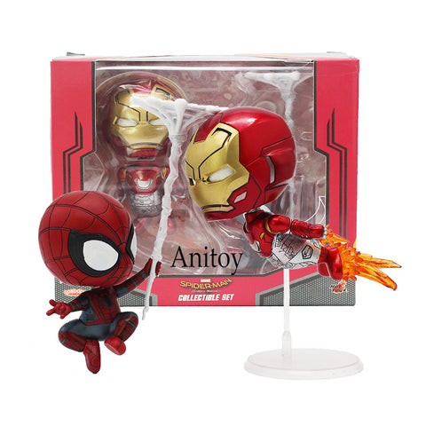 Cosbaby Marvel Homecoming Iron Man & Spiderman Bobble Head Dolls Figures Toys 2-pack - WyldekardeWorld