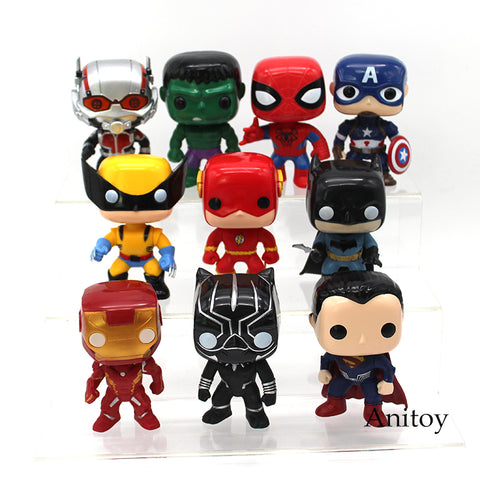 Super Heroes Superman Batman Spiderman Captain America Iron Man Ant Man Hulk Logan Black Panther The Flash Figure Toys 10pcs/set - WyldekardeWorld