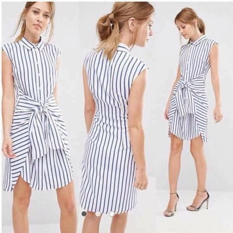White with Blue Stripes Dress - WyldekardeWorld