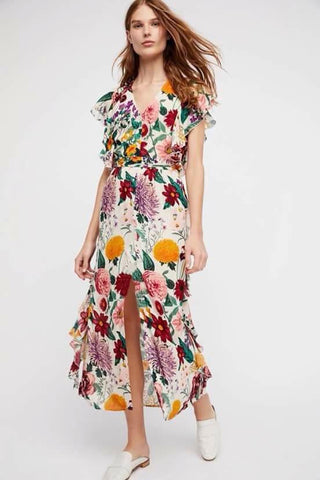 Beige Long Summer Dress with Green and Red Floral Patterns - WyldekardeWorld