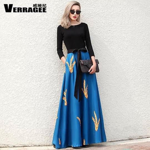Black Long Sleeved Top with Long Blue Skirt with Gold Design - WyldekardeWorld