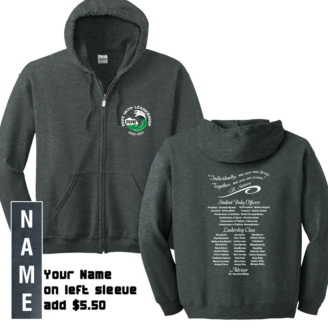 Delta Vista Middle Leadership 2020 - Zip Hooded Sweatshirt with NAME