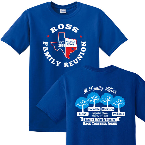 Ross Family Reunion 2019 - Royal 50/50 T Shirt