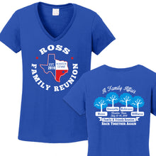 Ross Family Reunion 2019 - Ladies Vneck T Royal 100% Cotton