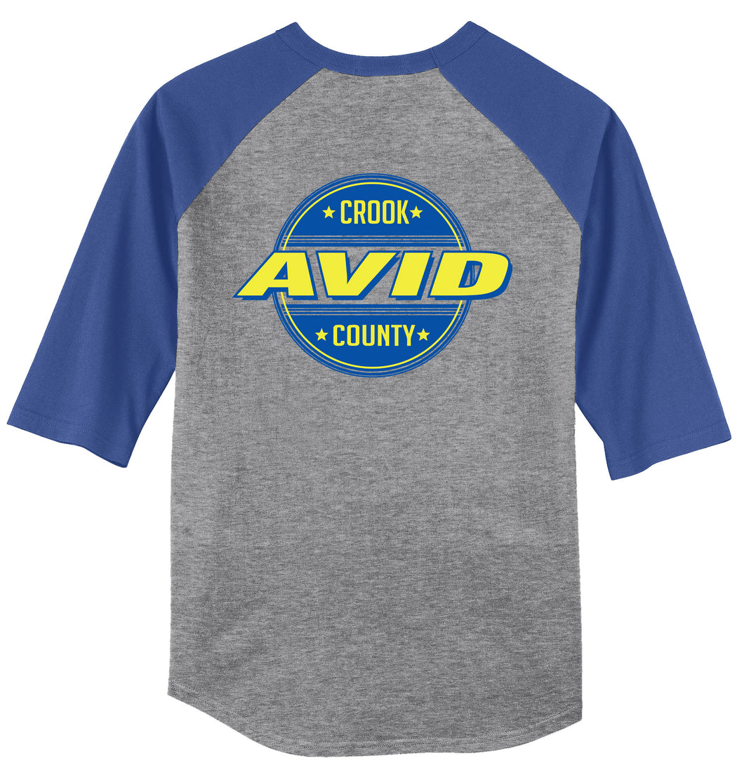 Crook County AVID 2018 Design 2 - 3/4 Sleeve Raglan