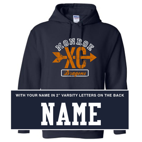 Monroe Dragons Cross Country 2018 - Hooded Sweatshirt - WITH NAME