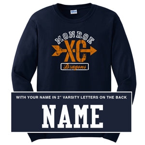 Monroe Dragons Cross Country 2018 - Navy Long Sleeve T Shirt - WITH NAME