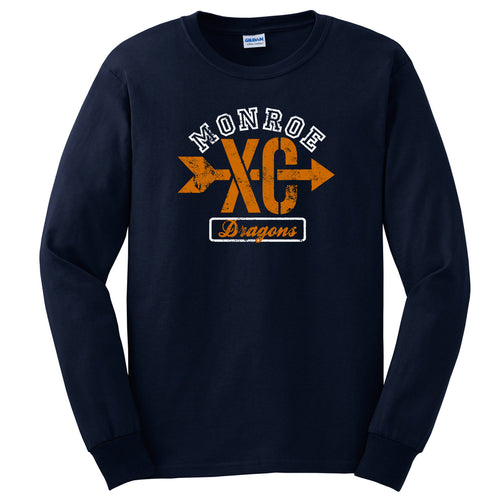 Monroe Dragons Cross Country 2018 - Navy Long Sleeve T Shirt