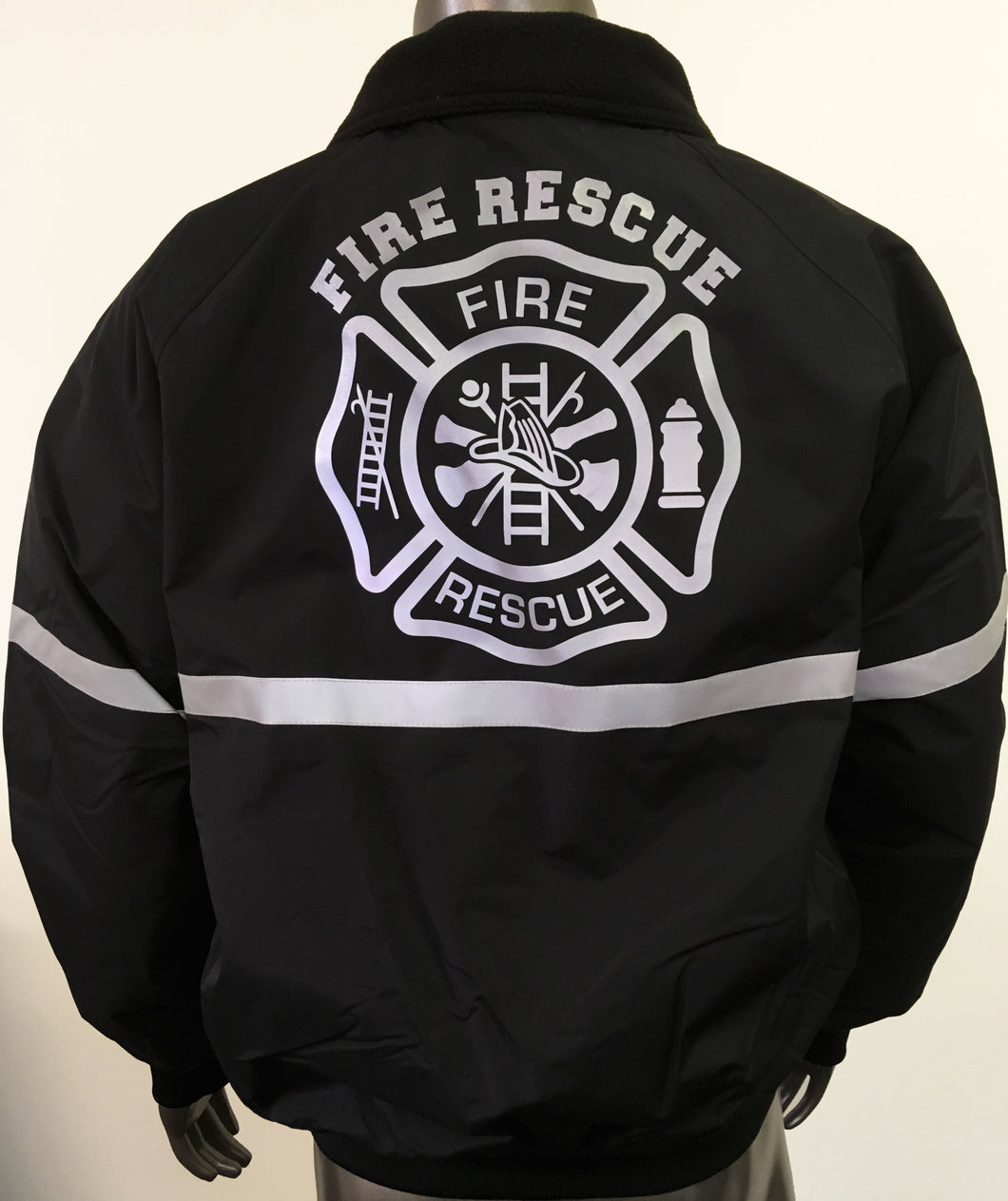 NEW custom printed jacket with 3M reflective FIRE RESCUE front and MALTESE CROSS on the back