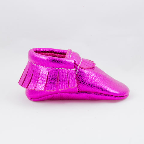 Metallic Hot Pink - Bare Soles Moccasins - Handmade Leather Moccasin