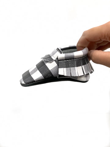 Black and White Plaid Moccs