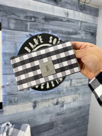 Bare Soles Wallet Black and White Plaid