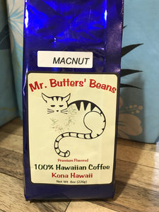 Mr. Butter's Beans Macadamia Nut 100% Kona Coffee - (Whole Bean, Full City Roast) - The Original Donkey Ball Store