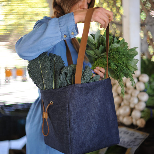 Denim Etta Tote a the farmers market