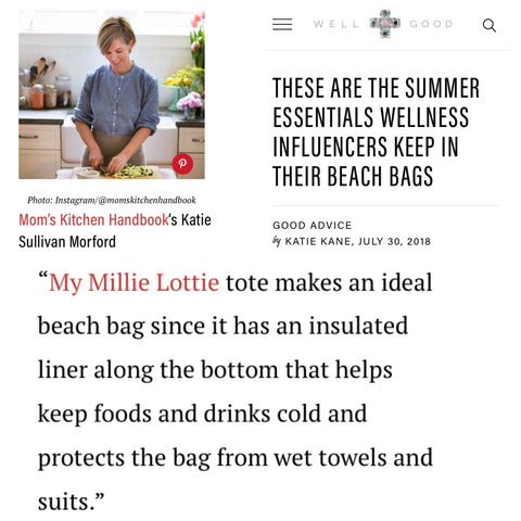 Millie Lottie a Summer Essential on Well and Good Website