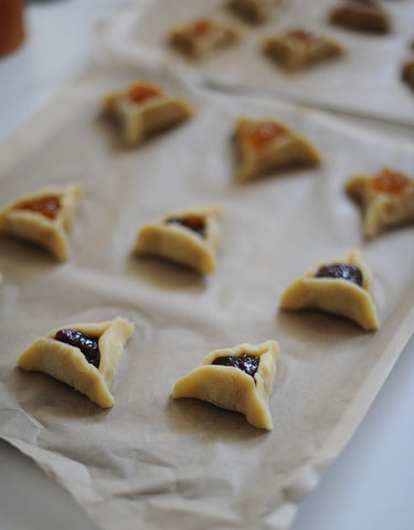 Hamantaschen ready for the oven