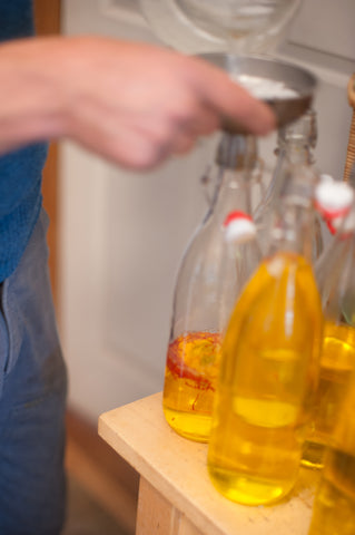 saffron water being bottled