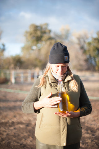 melina of peace and plenty farm holding saffron water