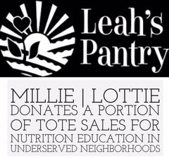 Millie Lottie donates to Leah's Pantry for each told sold