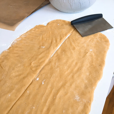 Hand pressed dough for kings cake