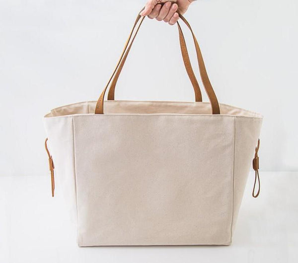 Millie Lottie Etta Food & Picnic Tote, Large, Natural Canvas