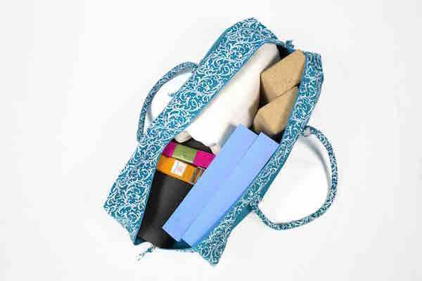 Turquoise Organic Cotton Kit Bag storage capacity - Ekotex Yoga