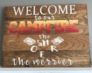 Rustic Wood Sign - CAMPFIRE