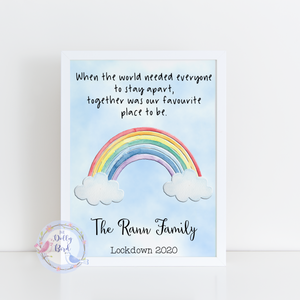 Lockdown 2020 Rainbow Personalised Family Print, Rainbow Family Print, Quarantine 2020 Family Print, Lockdown Memorial Keepsake