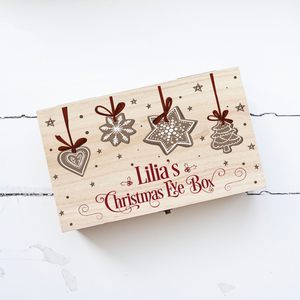 Personalised Wooden Christmas Eve Box, Christmas Biscuits Personalised Wooden Box, Christmas Eve Treats, Family Christmas Eve Box, Xmas Box
