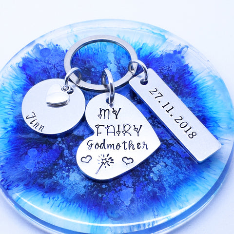 Fairy Godmother Personalised Keyring Keychain, Godmother Gift, Personalised Godmother Gift, Christening Godparent Gift, Custom Keychain