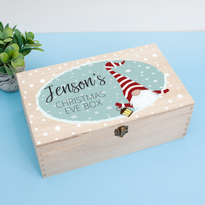 Personalised Wooden Christmas Eve Box, Christmas Gnome Personalised Wooden Box, Christmas Eve Treats, Childs Wooden Box, Boys Christmas Eve