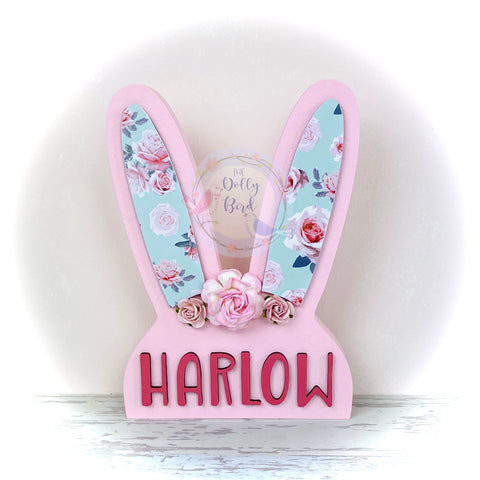 Personalised Wooden Bunny Rabbit Decoration, Personalised Wooden Bunny Head, Rabbit Nursery Decor, Pink Rabbit Decoration, Easter Gift