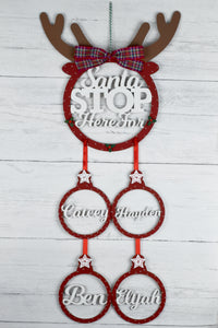 Personalised Santa Stop Here Christmas Dreamcatcher, Santa Stop Here Sign, Santa Stop Here Names Sign, Personalised Children Christmas Sign
