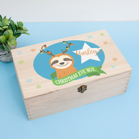 Personalised Wooden Christmas Eve Box, Christmas Sloth Themed Personalised Wooden Box, Christmas Eve Treats, Wooden Sloth Christmas Eve Box